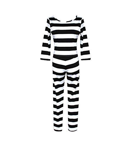 Cosplay Life Nanbaka Jyugo Prison No.15 Prison Suit Meiko Midorikawa Hana Uniform Womens Full Jumpsuit Halloween Jail Costume Black and White