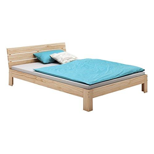 IDIMEX Bett Doppelbett Bettgestell mit Kopfteil Thomas, Kiefer massiv, 140x200 cm, Natur
