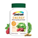 Centrum Energy Supplement, B-Vitamins Support Energy, with Whole Food Blend, 30 Day Supply-60 Capsules