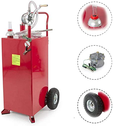 30 Gallon Fuel Transfer Tanks on Wheels Portable Gas Caddy Fuel Storage Tank with Pump Long Kink Free Hose for ATVs Cars Mowers Red