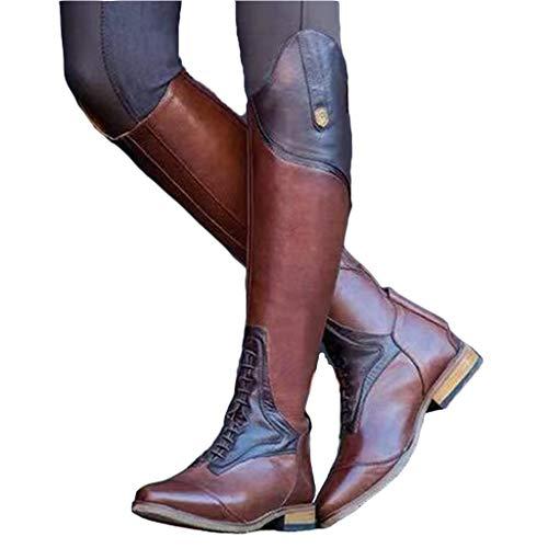 MWbetsy Männer Weinlese-Lange Stiefel-Seiten-Reißverschluss hohe Stiefel-Western-Cowboy-Reitstiefel-Land Pferde-Trekking Schuhe Outdoor Training Martin Stiefel,Braun,43