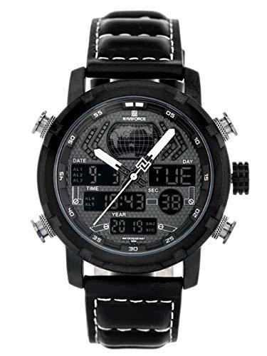 Naviforce - NF9160 - Orologio da polso al quarzo digitale analogico Dual Time da uomo, cinturino in pelle, impermeabile (Cinturino: nero con cuciture bianche/indice: bianco)