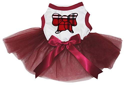 Petitebelle Puppy hond kleding Plaid strik Top wijn rode jurk, XXX-Large, Kleur: wit