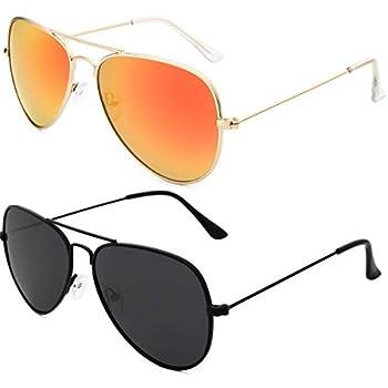 Livhò Sunglasses for Men Women Aviator Polarized Metal Mirror UV 400 Lens Protection  Black Grey+Golden Red