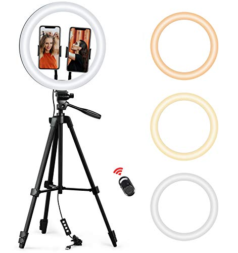 "ESDDI Selfie Ring Light with Tripod Stand, 12"" 3-Color Modes LED Ring Light with Adjustable Brightness, 2 Phone Holders, Bluetooth Remote Shutter for You Tube, Live Stream, Makeup and Photography"