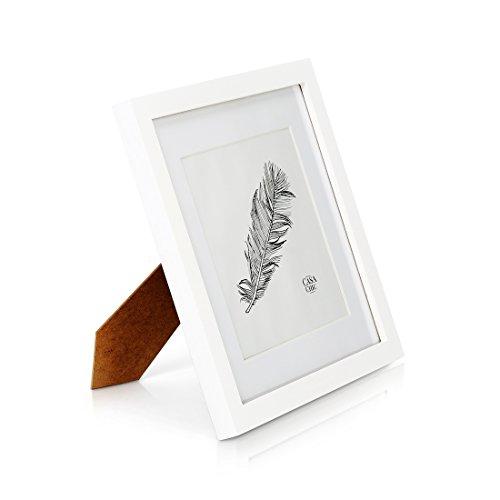 Marco de Fotos 25 x 25 cm con Paspartú para foto de 18 x 18 cm - Madera de Pino - 1 Marco - Grosor del Marco 2 cm - Frente de Cristal Templado - Color Blanco