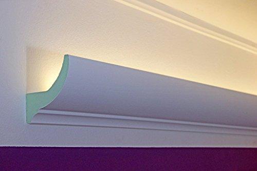 LED Stuckleisten für indirekte Beleuchtung der Decke - Lichtvouten Stuck-Profil aus Hartschaum 75x90mm DBKL-75-PR von BENDU