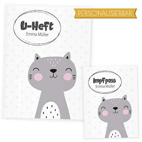 Funda para cuaderno de animales del bosque, funda para el cuaderno y cartilla de vacunas, regalo ideal para nacimiento gato Talla:Uheft Set personalisiert
