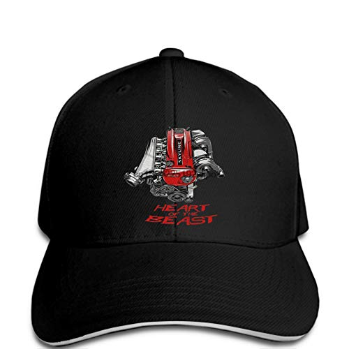 Baseball Cap Herren Baseball Cap Mode Auto Skyline Beast Heart JDM Hut schwarzer Hystereseneinstellbarer Casual Hip Hop lustig im Freien Schirmmütze