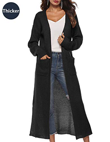 Long Cardigan Sweaters for Women Open Front Long Sleeve V Neck Cable Knit Long Cardigan Sweater Chunky Slit Coat