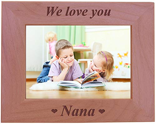 CustomGiftsNow We Love You Nana - Engraved Wood Picture Frame (5x7 Horizontal)