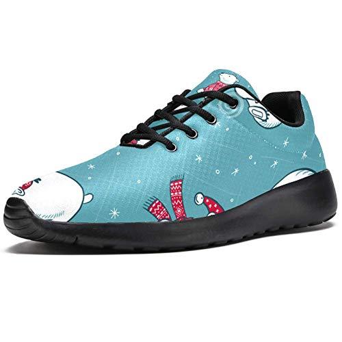 TIZORAX Zapatillas deportivas para hombre, bufanda de Navidad, gorro de oso polar,...