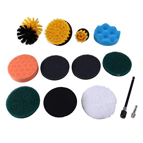 Gesh 12PCS Electric Drill Brush Scrub Pads Kit Power Scrubber Cleaning Kit Cleaning Brush Scouring Pad for Carpet Glass Clean