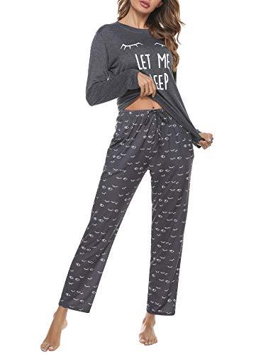 Aibrou Conjunto de Pijamas Mujer, Ropa de Casa Dormir de Manga Larga en Cuello Redondo Pijama Estampado Gato Conjuntos Camiseta y Punto de Onda Pantalon Mujer per Hogar Casual B:Gris Oscuro S