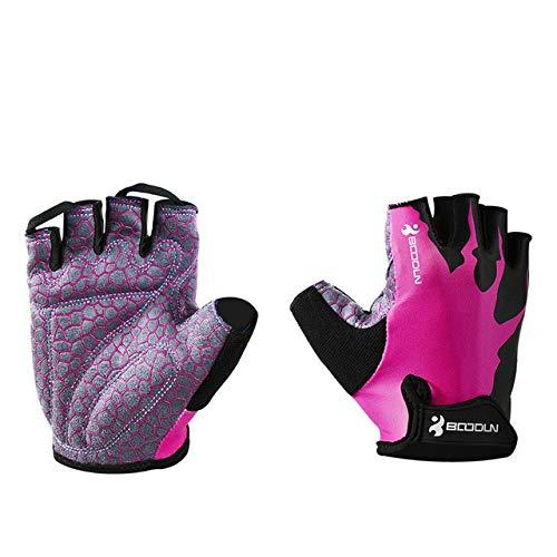 Sommer Anti-Rutsch-Halbfinger Fahrradhandschuhe Männer und Frauen stoßfeste Gel Mountainbike Handschuhe Straßensport Mountainbike Fahrradhandschuhe - Pink, XL