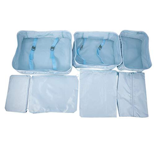Baalaa 7 unids/set bolsa de viaje conjuntos impermeable embalaje ropa portátil ordenar caso equipaje organizador bolsa accesorios azul
