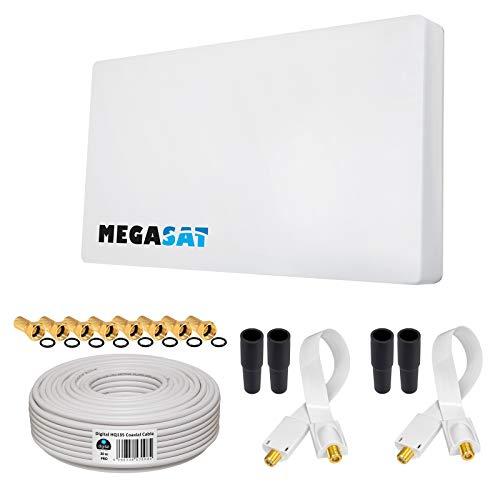 HB-DIGITAL Set: Megasat Sat-Flachantenne H30D2 Twin 2 Teilnehmer Direkt + Fensterhalterung + 20m SAT-Kabel + 2X SAT Fensterdurchführung + 8X F-Stecker vergoldet + 4X Gummitüllen | Full HD TV 3D 4K