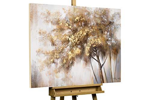 KunstLoft® Acryl Gemälde 'Hello Autumn' 100x75cm | original handgemalte Leinwand Bilder XXL | Baum Herbst Rot-Töne | Wandbild Acrylbild Moderne Kunst einteilig mit Rahmen