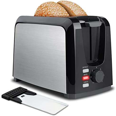 Toaster 2 Slice Stainless Steel Toaster Two Slice Toaster with Removable Crumb Tray Toaster Wide Slot Toasters 2 Slice Best Rated Prime with 7 Bread Shade Settings and Bagel, Defrost, Cancel Function Salted Salad