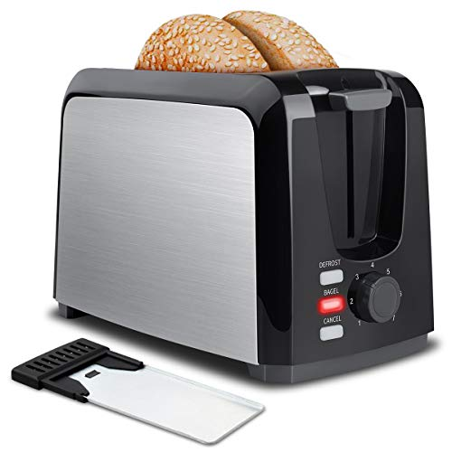 Toaster 2 Slice Stainless Steel Toaster Two Slice Toaster with Removable Crumb Tray Toaster Wide Slot Toasters 2 Slice Best Rated Prime with 7 Bread Shade Settings and Bagel, Defrost, Cancel Function