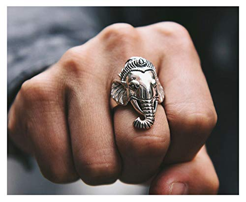 Men's Ring, S925 Silver Opening Adjustable Lucky Elephant Ring, Wedding Engagement Jewelry, Father's Boyfriend Gift Ring