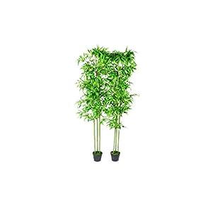 vidaXL 2 pcs 75″ Bamboo Plant Artificial Arrangement Fake Silk Tree Home Decor Potted