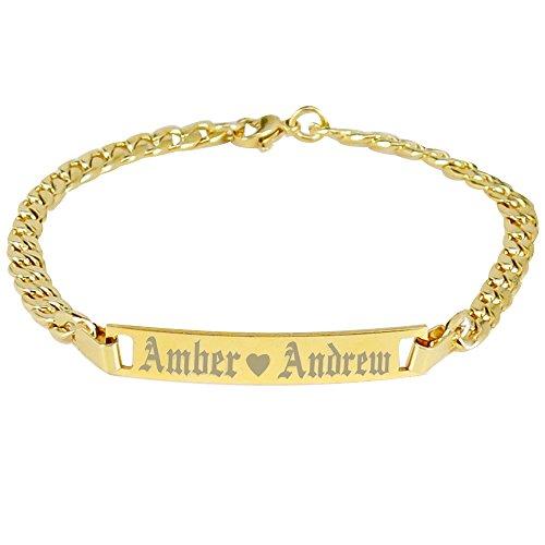 Tina&Co Personalized Stainless Steel Bracelets Name Bar Bracelet Custom Bracelet Gift For Mom Women-24