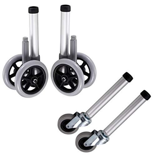 Ruedas y patas de repuesto para andadores - Juego de piezas de accesorios para caminantes médicos plegables - Incluye 2 puntas deslizantes, dos ruedas de goma de 5 pulgadas