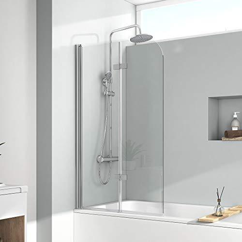 EMKE 120x140cm Duschtrennwand für Badewanne Faltwand Duschabtrennung Badewannenaufsatz NANO einfach-Reinigung Beschichtung
