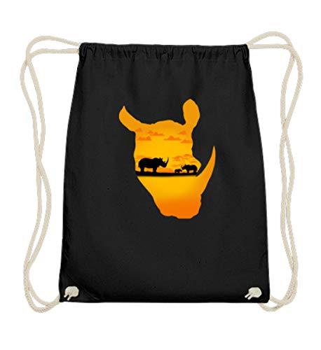 EBENBLATT Nilpferd Safari Tour Kostüm Afrika Urlaub Kleidung Outfit cooles Geschenk Geschenkide - Baumwoll Gymsac -37cm-46cm-Schwarz