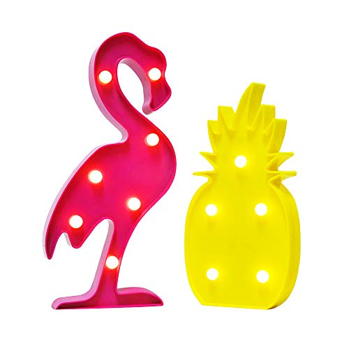 AceList Luau Party Decorations Flamingos Pineapple Lights Tropical Hawaiian Themed Party Supplies Birthday Decor for Wall Table Desk Centerpieces