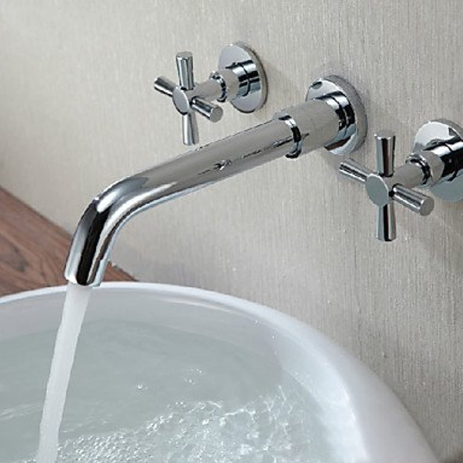 SQL Contemporary Wall Mounted with Ceramic Valve Two Handles Three Holes for Chrome Bathroom Sink Faucet