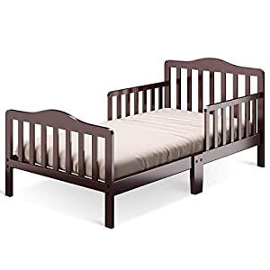 Costzon Toddler Bed, Classic Design Wood Bed Frame w/Two Side Safety Guardrails & Wooden Slat Support for Kids Boys & Girls, Children Sleeping Bedroom Furniture