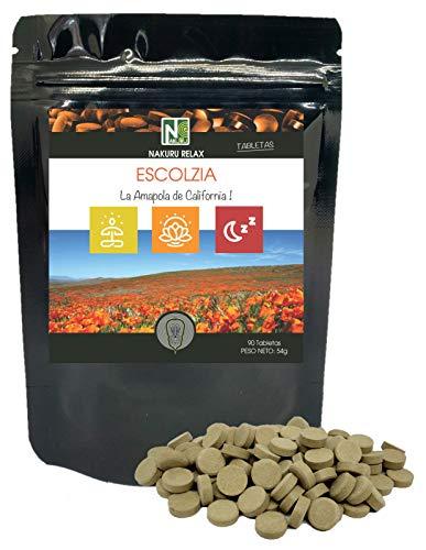 Escolzia/NAKURU Relax/Polvo organico seco y comprimido en frio/Analizado y envasado en Francia /\ La Amapola de California!\ (90 Tabletas de 600mg / Peso Neto: 54g / Negro)