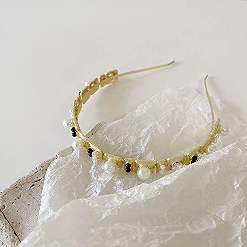 jiarun Diadema cuadrada geométrica irregular con perlas de aleación de color dorado fresco para mujer (color metálico: A)