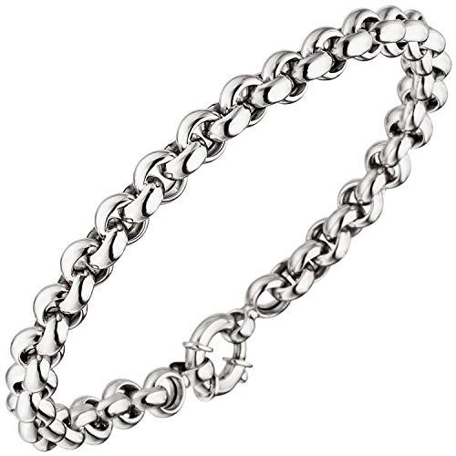JOBO Damen Erbsarmband 585 Gold Weißgold 19 cm Armband Weißgoldarmband