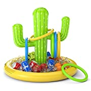 #LightningDeal Jasonwell Inflatable Cactus Drink Holder Float Floating Beverage Salad Fruit Serving Bar Inflatable Ring Toss Game Set Pool Float Party Favors Accessories Water Fun Toys for Kids Adults