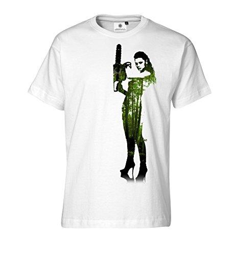 Aangepaste door S.O.S T-shirt voor heren Chainsaw Lady