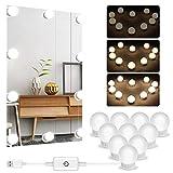 Luz de maquillaje, USB Luces de Espejo de Vanidad Luz LED de Espejo con 10 Bombillas Regulables Vanidad de Estilo Hollywood Luces de Espejo Bricolaje Luces Decorativas para Interiores