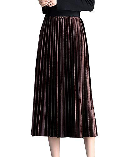 Quge Falda Largas para Mujer Alta Cintura Casual Reversible Midi Plisada Falda Marron Oscuro