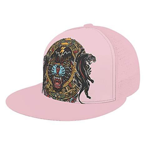 AXGM Unisex Kappe Mütze Ägypten Indien Maya Panther Mode Mesh Outdoor Hut Snapback Cap mit Schirm Basecap für Sport Reise Outdoor Freizeit pink OneSize