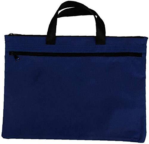 lqgpsx Tragbare Leinwand Aktentasche Taschen Dokumentdatei A4 Größe Reißverschluss Verschlusstasche Dokument Papiere Halter Behälter Blau 1St