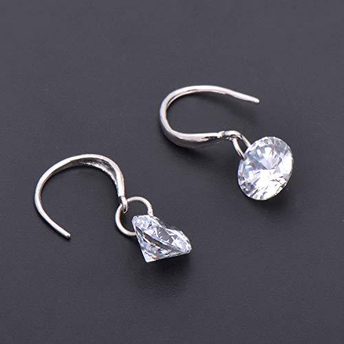 925 Sterling Silver 1ct Cubic Zirconia Diamond Stone Dangle Earrings