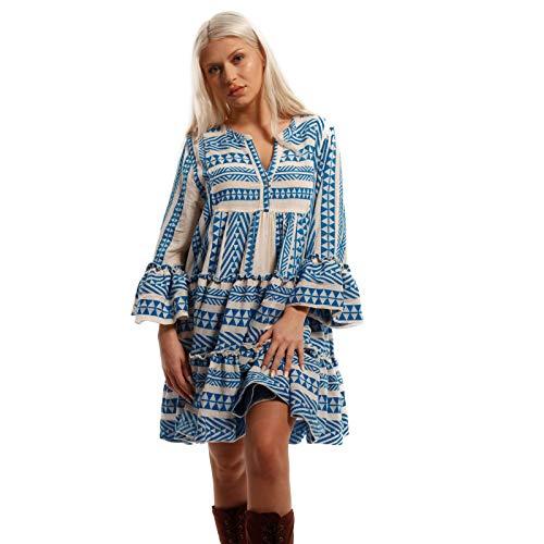 YC Fashion & Style Damen BohoTunika Kleid Minikleid Hippie Volantkleid Jumper aus 100% Baumwolle - Party Freizeit Herbst Sommer Tunic Dress (L/XL = 40/42, Blau)