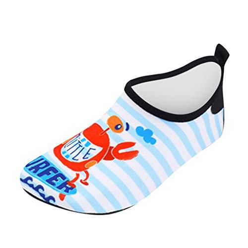 HDUFGJ Kinder Barfußschuhe Badeschuhe Wasserschuhe Aquaschuhe Trocknend Schwimmschuhe Strandschuhe Surfschuhe für Jungen Mädchen Baby Outdoor Strandschuhe Atmungsaktiv Gummi Sommer23(Himmel blau)