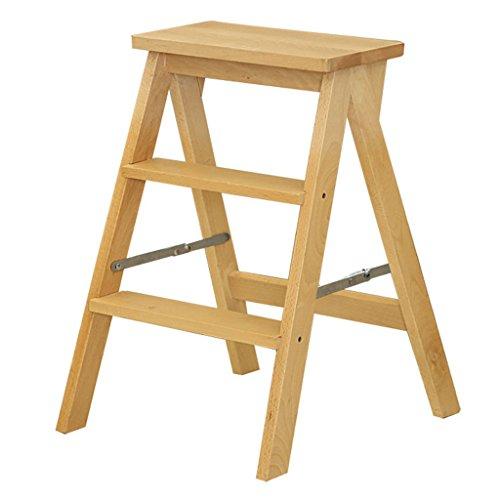 ZfgG Tabouret-échelle en Bois Massif Pliable en 3 étapes Escabeaux créatifs à Deux utilisations pour Chaise à échelle multifonctionnelle intérieure, tabourets Mobiles, 42x48x64cm
