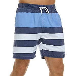 Nonwe Men's Swim Trunks Retro Quick Dry Soft Washed  Full Liner Casual Shorts