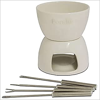 Relaxdays Gmbh Ceramic Chocolate Fondue Set Incl 4 Forks White