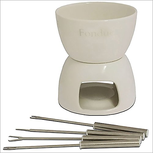 Fondue cerámica blanca para chocolate - Incluye 4 tenedores