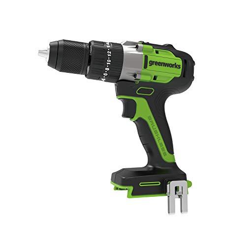 Greenworks - Taladro inalámbrico (24 V, 60 Nm, sin escobillas, con luces LED, Chuck de 13 mm, juego de 20 par de torsión, taladro percutor con dos velocidades)
